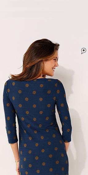 Bedrukte jurk met 3/4-mouwen