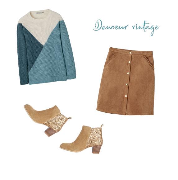 pull doux, jupe courte en suédine, low-boots croute de cuir et paillettes