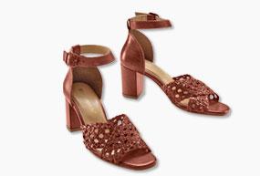 leren sandalen met hoge hak