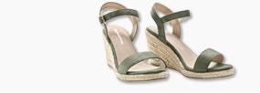 sandalen met sleehak in touw