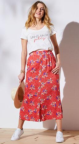 Lange rok met bloemenprint