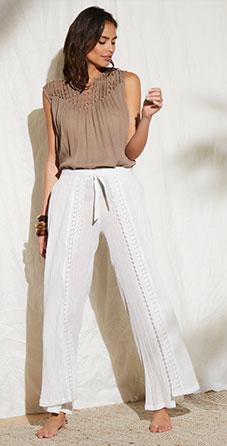 Witte soepele broek