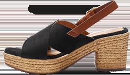 Sandalen met sleehak gekruist bovenwerk zwart