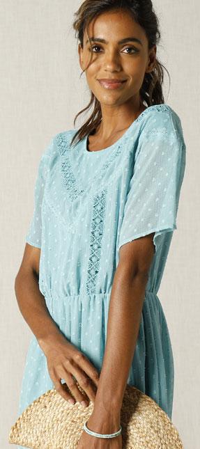 Blauw jurk in plumetisvoile