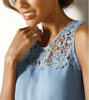 Blauw jurk macramé