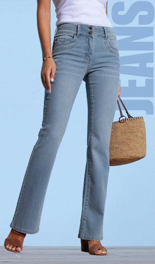 Afgewassen bootcut jeans in stretchstof