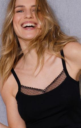 "Pyjama caraco noir ""Made in France"" en dentelle plumetis - Blancheporte"