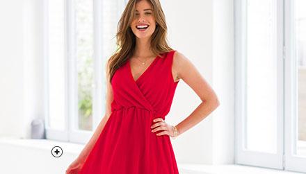 Rood jurk met plissé