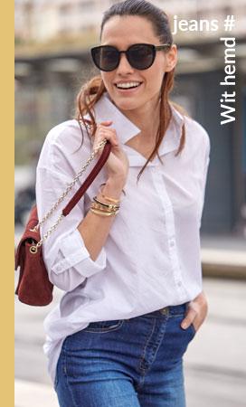 Witte hemd met lange mouwen