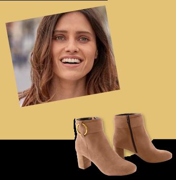 Boots marrons croûte de cuir boucle côté