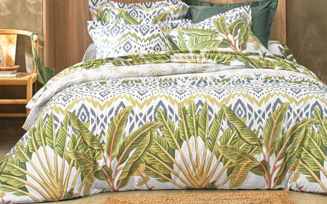 Groen tropische print beddengoed