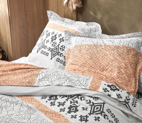 Parure de lit blanche imprimé ethnique