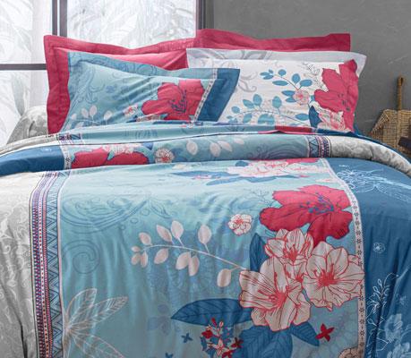 Parure de lit bleu fleurie