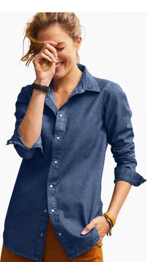 Overhemd jas in jeans met lange mouwen - Blancheporte