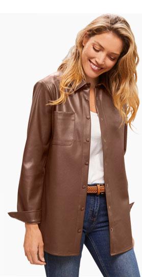 Veste surchemise marron aspect cuir manches longues - Blancheporte