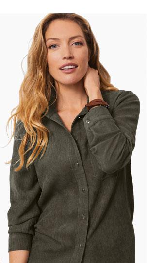 Kaki groene overhemd jas met lange mouwen - Blancheporte