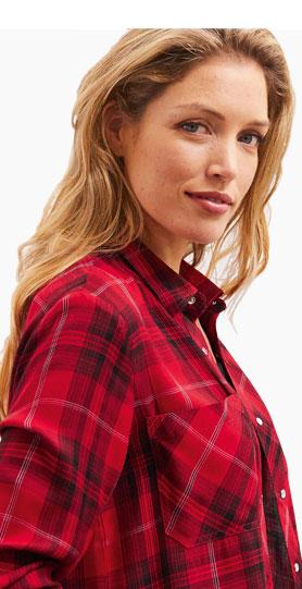 Veste surchemise rouge et noir à carreaux manches longues - Blancheporte