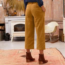 Wijde broek in bruin velours