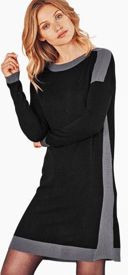 Zwart-grijze trui-jurk met contrasterende banen