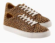 Tweekleurige leren sneakers in zilvergrijs en wit