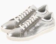 Zwart-beige sneakers in gladgeschoren leer