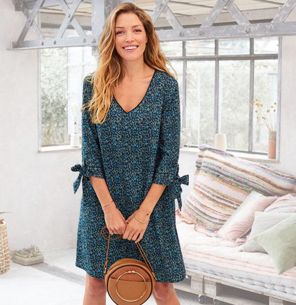 Wijde blauwe jurk met print Colors & Co®, goedkoop - Blancheporte
