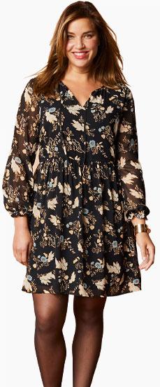 Bedrukte zwarte jurk in voile