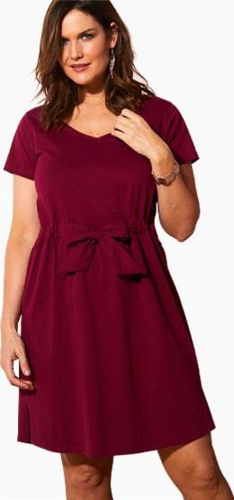 Bordeaux jurk met korte mouwen