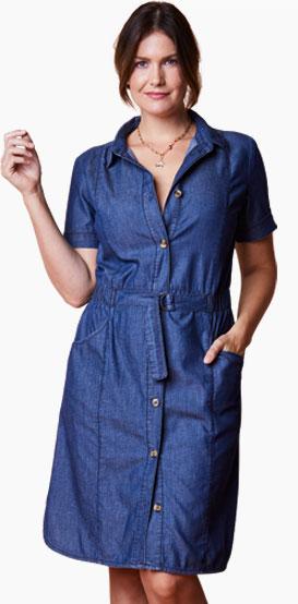 Blauwe hemdjurk in jeans met knopen