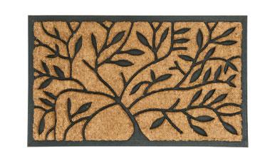 Zwarte deurmat voor buiten met boommotief