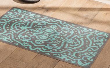 Blauw vinyltapijt in Boheemse stijl