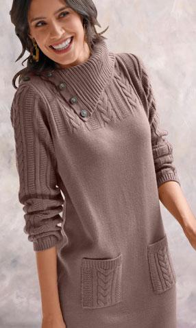 Grijze trui-jurk met kabeltricot