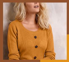 Robe pull marron avec boutons