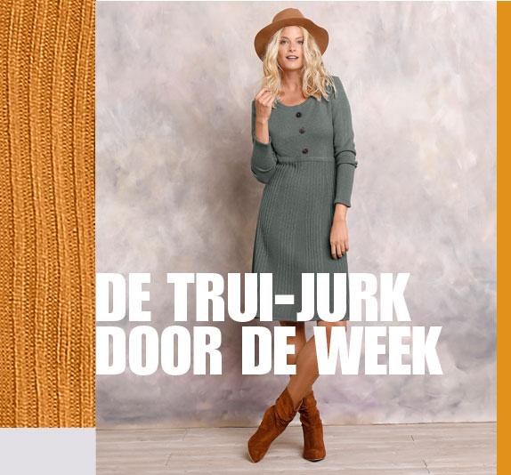 Bruine trui-jurk met knopen