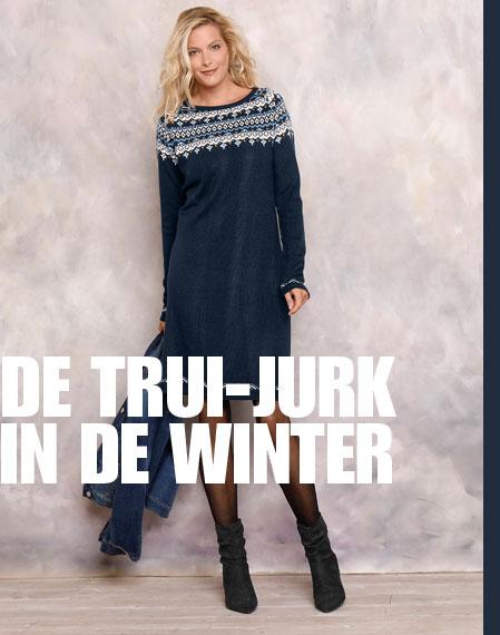 Marineblauwe trui-jurk met jacquard