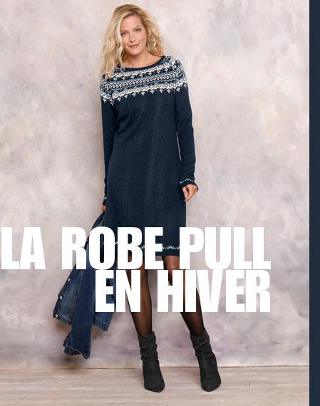 Robe pull bleu marine jacquard