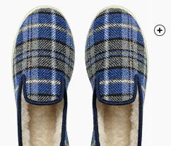 Blauwe pantoffels met ruitjes voor heren