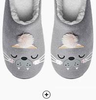 Grijze pantoffels met zeeleeuwprint voor dames