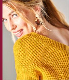 Gele trui met V-hals in tricot