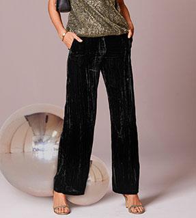 Pantalon large noir en velours froissé