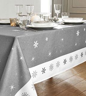 Nappe de table Noël grise imprimée flocons - Blancheporte