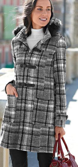 Duffle-coat carreaux noir et blanc à capuche fausse fourrure