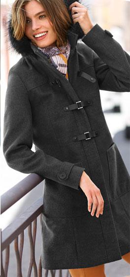 Duffle-coat gris chiné à capuche fausse fourrure
