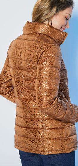 Bruine korte gewatteerde jas met glanzende print