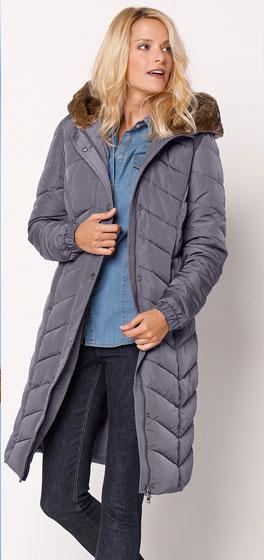 Grijze lange gewatteerde jas met gevoerde kap