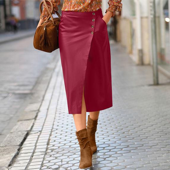Jupe femme portefeuille mi-longue rouge enduit pas cher - Blancheporte