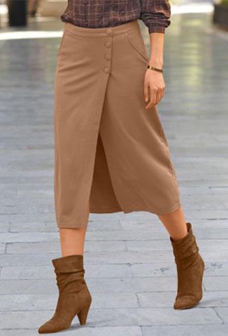 Jupe femme portefeuille mi-longue marron maille milano pas cher - Blancheporte