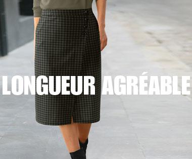 Jupe femme portefeuille mi-longue à carreaux noir et gris maille milano pas cher - Blancheporte