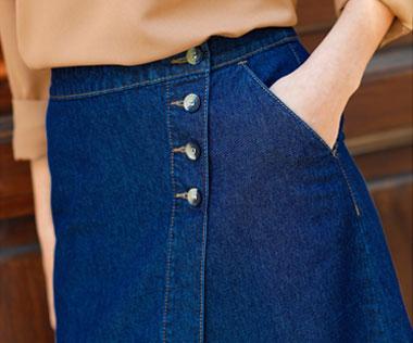 Jupe femme portefeuille mi-longue en jean denim pas cher - Blancheporte
