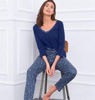 Pantalon pyjama bleu fluide imprimé pois en viscose pas cher - Blancheporte